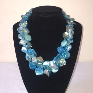 Blue Pearl Beaded Statement Necklace